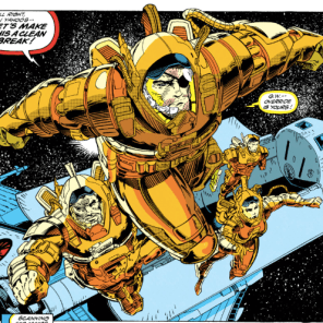 Those spacesuits look incredibly cumbersome. (X-Force #20)