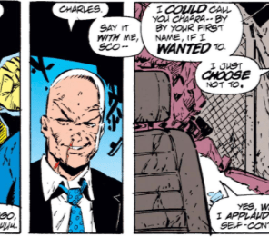 """After this awkward exchange, Cyclops blurts out """"Stand down, Wolverine!"""" for reasons he can't quite explain. (X-Men Unlimited #1)"""