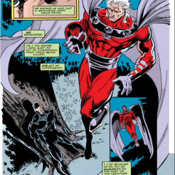 Not for nothing does Magneto's cape resemble wings. (X-Men Unlimited #2)