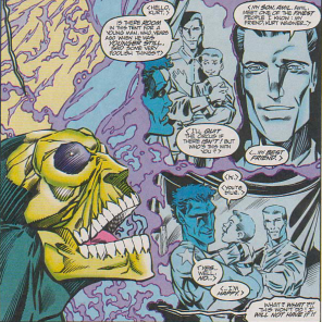 D'Spayre's only weaknesses are joy and, by remarkable coincidence, children named Amil. (Excalibur #77)