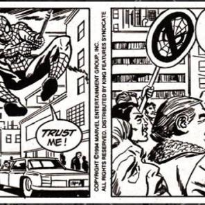 Did... did that guy just have that picket sign with him? Just in case? (Spider-Man: the newspaper comic strip)