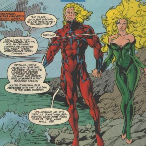 I love Christmas traditions! Red and green outfits, walks on the beach, having the lighthouse that was destroyed in a climactic multiversal event suddenly exist again for no good reason... (Excalibur #81)