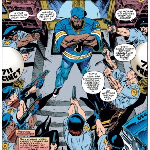 Showing a bunch of predominantly white cops holding guns on an unarmed black teenager while claiming that superpowers are the only issue in play is a pretty good illustration of exactly how the mutant metaphor fails at intersectionality. (X-Men #36)