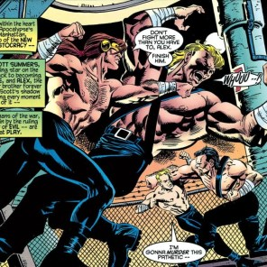 Okay, but why are the guys they're fighting wearing bondage harnesses? (Tales from the Age of Apocalypse: Sinister Bloodlines)