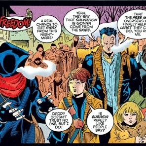 """Are you coming too, mysterious hooded stranger? My sister, Carmen Sandiego, would love to have you along!"" (Amazing X-Men #1)"