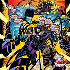 Half unspooled VHS tape, half Slinky, all nuisance. (Amazing X-Men #2)