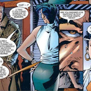 I don't know why John Constantine is here to question Trish Tilby's ethics, but SOMEONE needs to. (X-Men Prime #1)