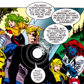 WHAT?! Superheroes trying to TALK through a misunderstanding? Surely Alpha Flight will jump straight to the punching, at least. (X-Factor #116)