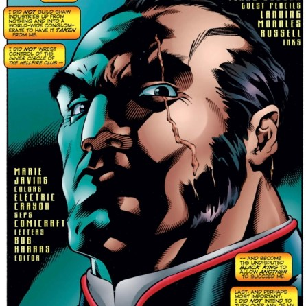 """""""My son murdered me and all I got was this cool scar."""" (X-Force #49)"""