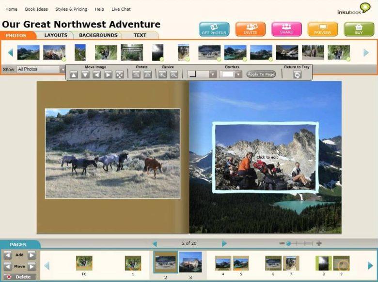 The Photos editing tab of the Inkubook Photobook editor