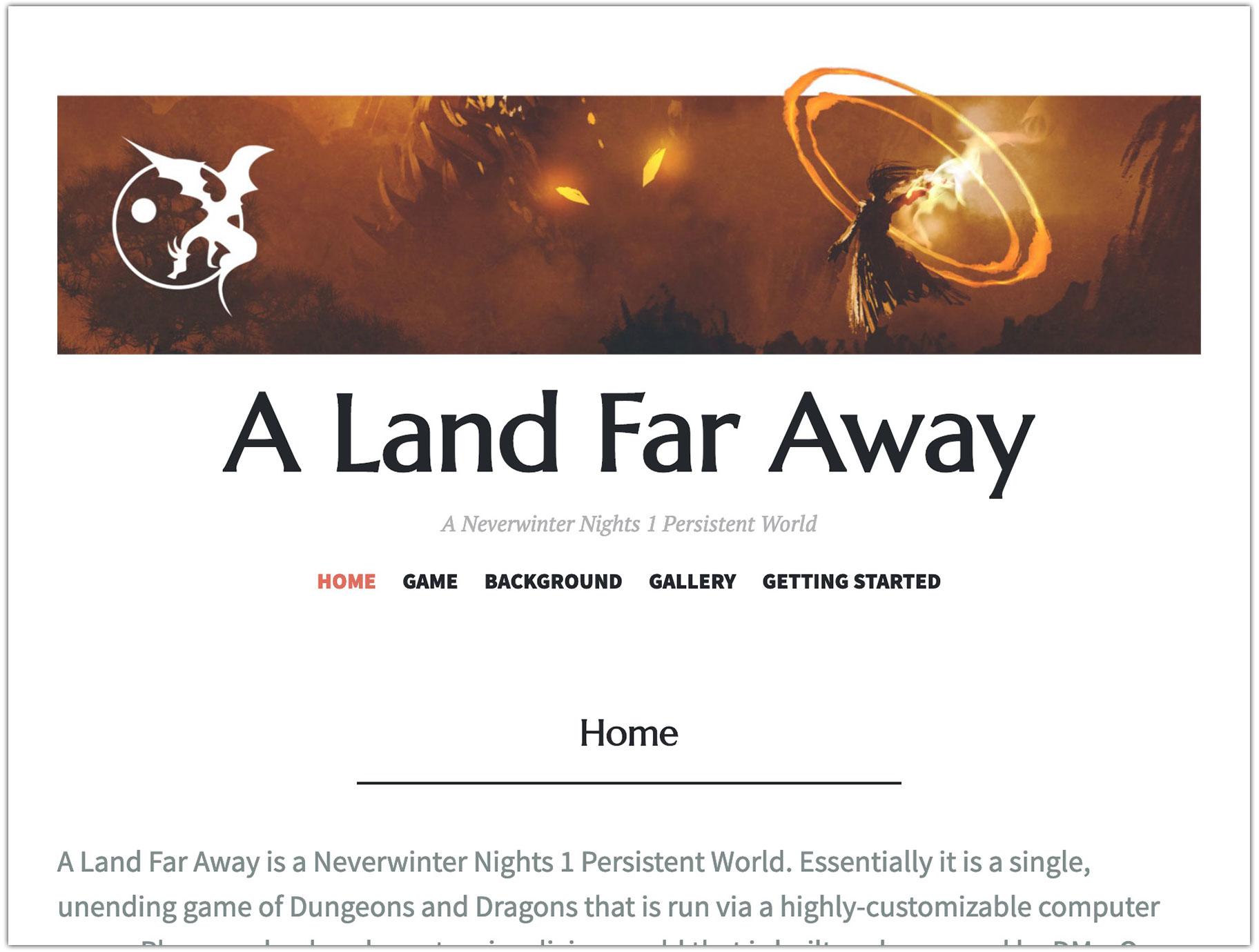 screenshot of A Land Far Away homepage