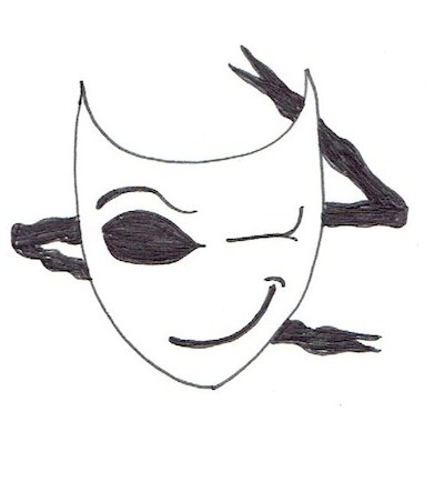 Winking mask graphic