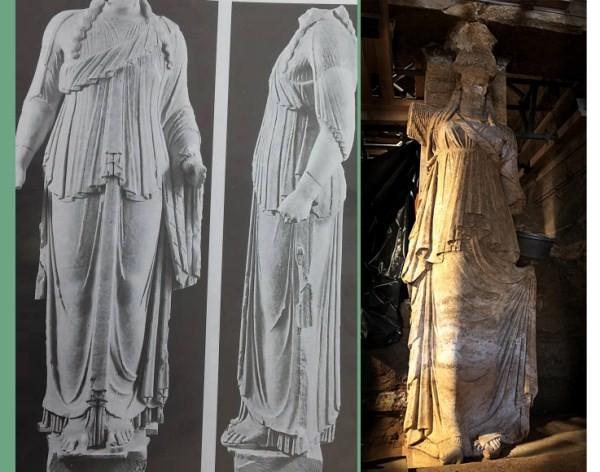Δεξιά το άγαλμα του θεού Διονύσου και αριστερά η Καρυάτιδα της Αμφίπολης, οι ομοιότητες πραγματικά είναι πάρα πολλές. Η αναθηματική πλάκα από το άγαλμα του Διονύσου, από το θέατρο του Ευώνυμου, μας πληροφορεί ότι χρονολογείται την περίοδο 330 – 320 π.Χ.