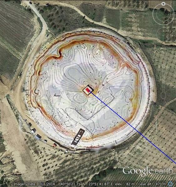 1. Η θέση του Λέοντα σύμφωνα με το σχέδιο του αρχιτέκτονα της ανασκαφής κ. Μ. Λεφατζή