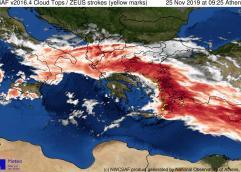 """Η εξέλιξη της κακοκαιρίας «Γηρυόνης» έως το μεσημέρι της Τρίτης 26 Νοεμβρίου – Ποιές περιοχές θα """"χτυπήσει"""""""