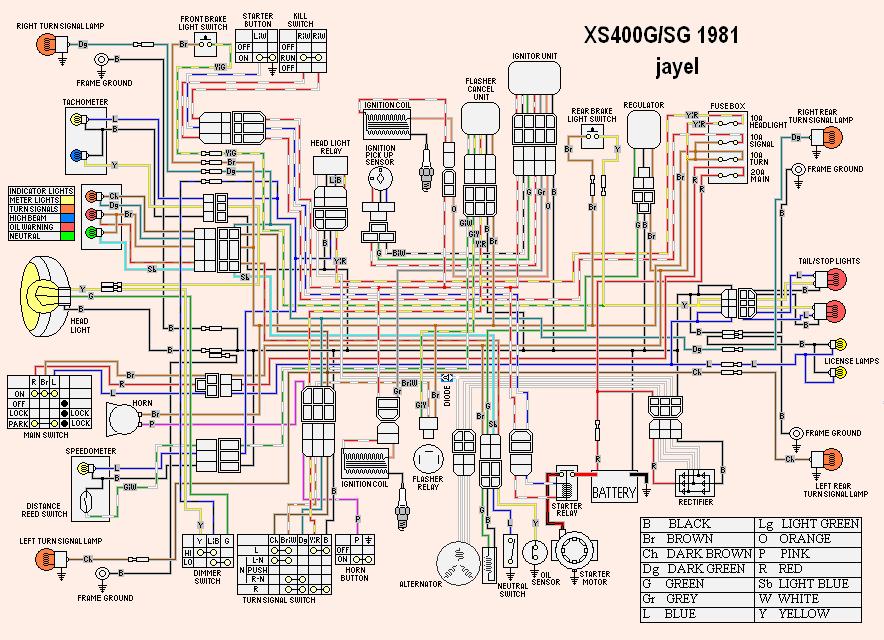 yamaha 650 wiring diagram 2 pickup 1 volume tone 3 way switch xs360 1979 xs400 schematic diagram1981 kawasaki kz650