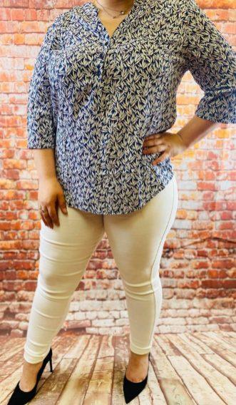 chemiser bleu imprimer fleurs blanc grande taille femme