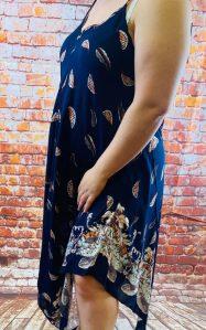 robe a bretelle bleu grande taille femme