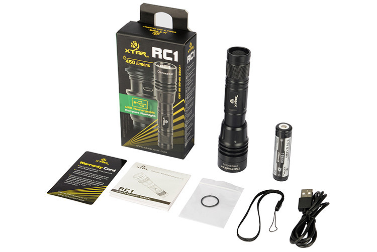 RC1 Darkwalker CREE XP-G2 S2 450 Lumens LED USB Rechargeable Torch Set