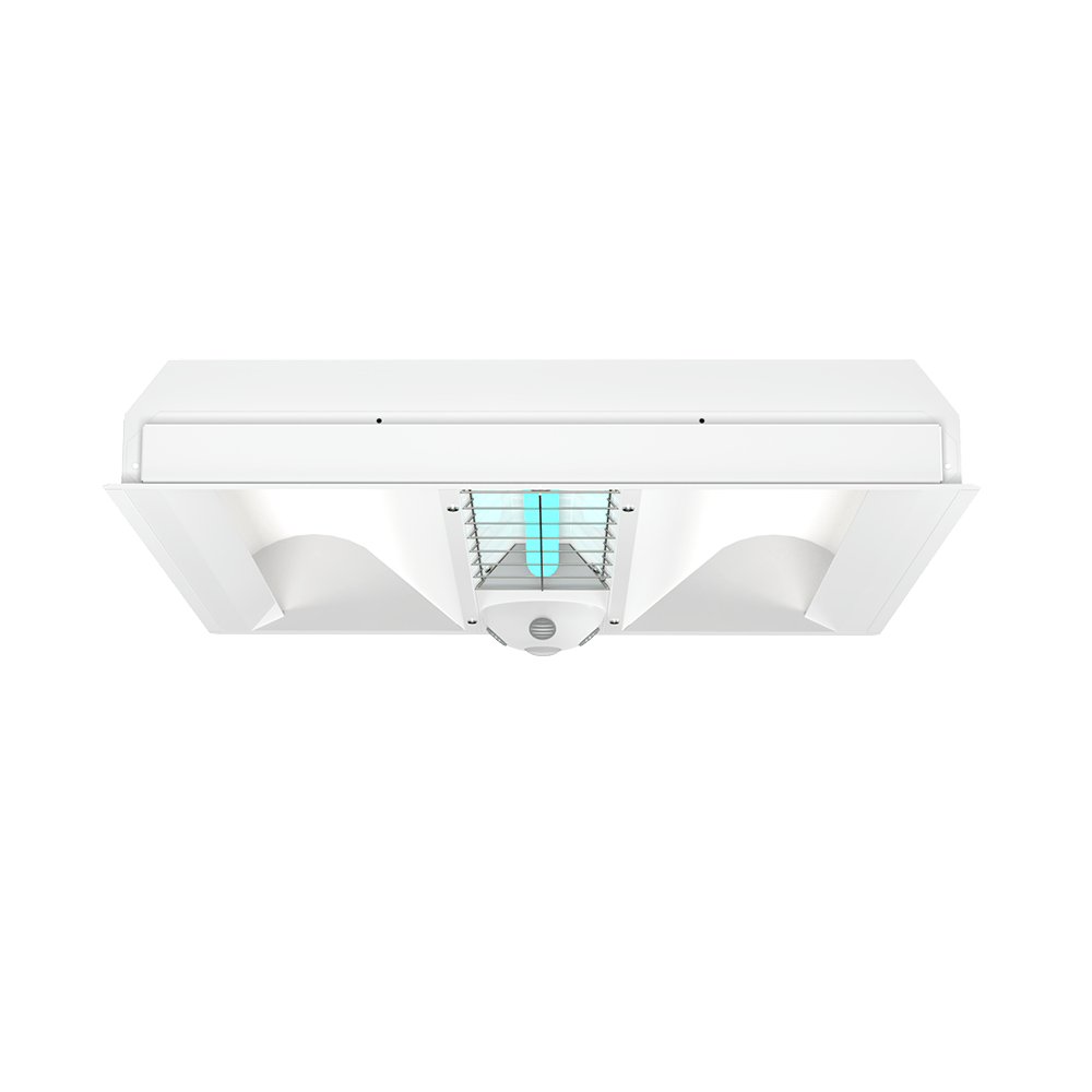 UVC 2x2 Indirect Hybrid Troffer Front View XtraLight LED Solutions