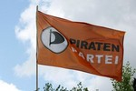 BERLIN - AUGUST 13:  The pirates party flag bl...