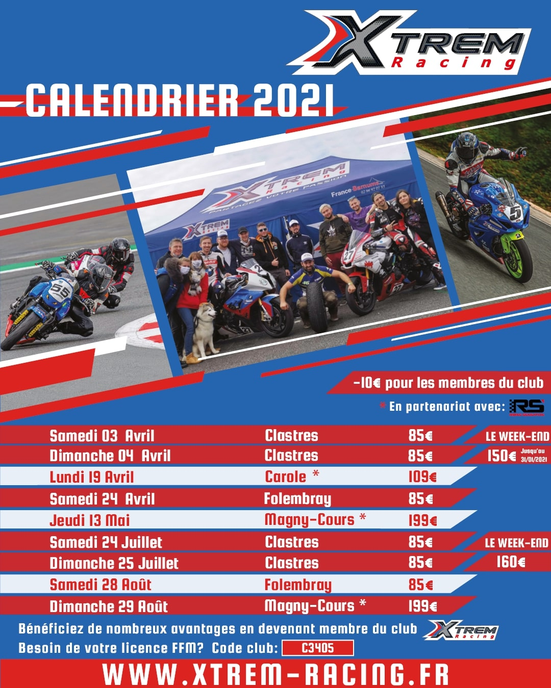 calendrier xtremracing 2021