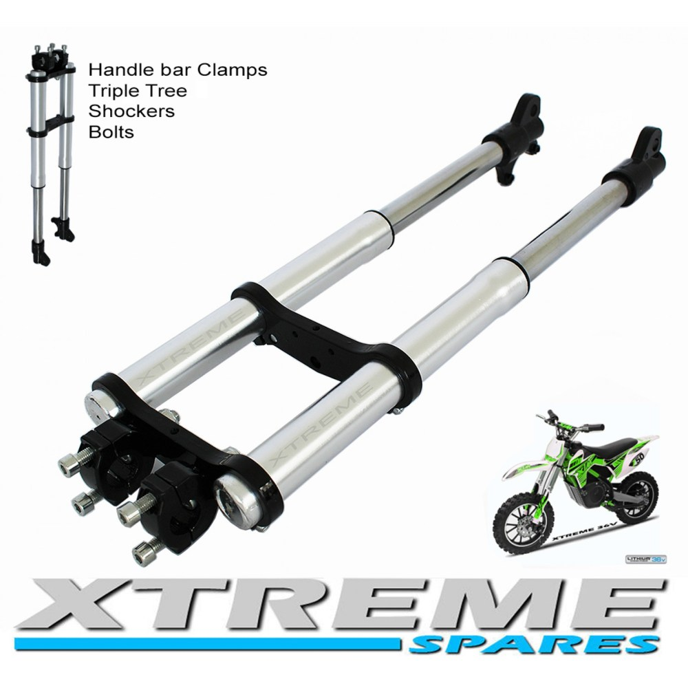 medium resolution of mini dirt bike complete front forks shockers triple tree handle bar clamps