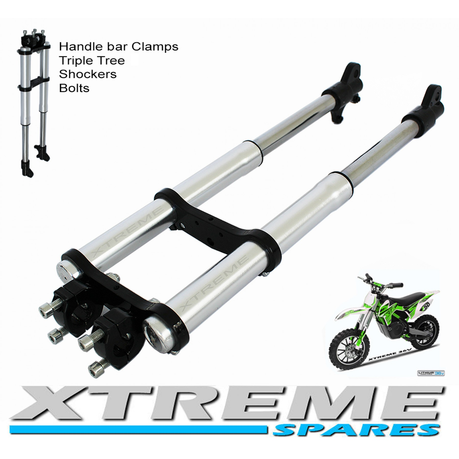 hight resolution of mini dirt bike complete front forks shockers triple tree handle bar clamps