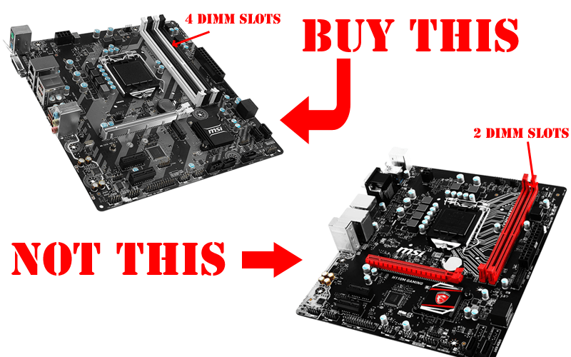 4 DIMM slots vs 2 DIMM slots Micro-ATX motherboard.png