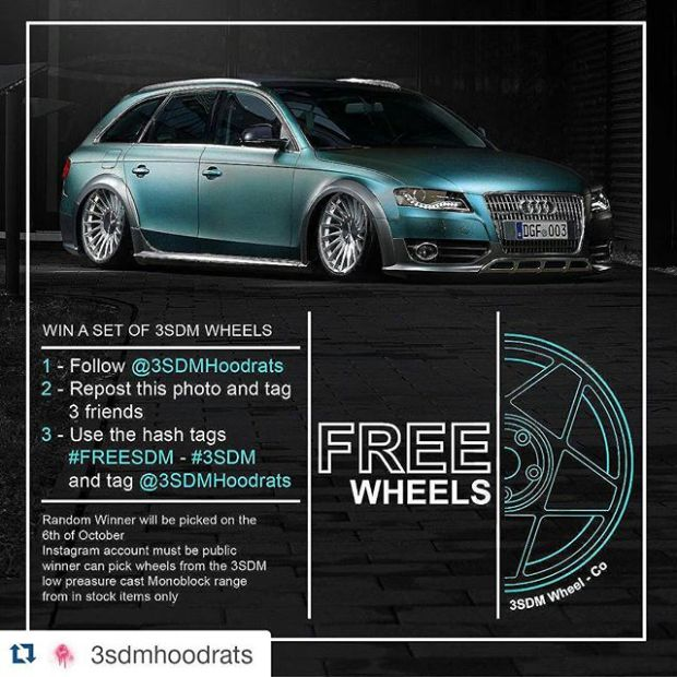 #Repost @3sdmhoodrats・・・To thank everyone for there support we are giving away a set of #3SDM Alloy Wheels.To enter 1 - Follow @3sdmhoodrats 2 - Repost this photo and tag  3 friends3 - Use the hash tags  #FREESDM / #3SDM Winner will be picked at random on the 6th of October Instagram accounts must be publicWinner can pick 1 set of 4 wheels from the 3SDM low pressure cast Monoblock range from in stock items only#3SDM #bagged #wheelwhores #stancenation #freewheels #FREESDM / #3SDM