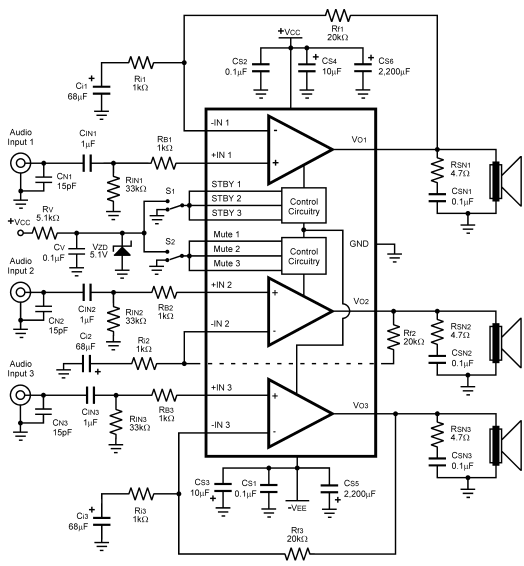 Circuit audio power amplifier circuit with lm4782 3X 25W