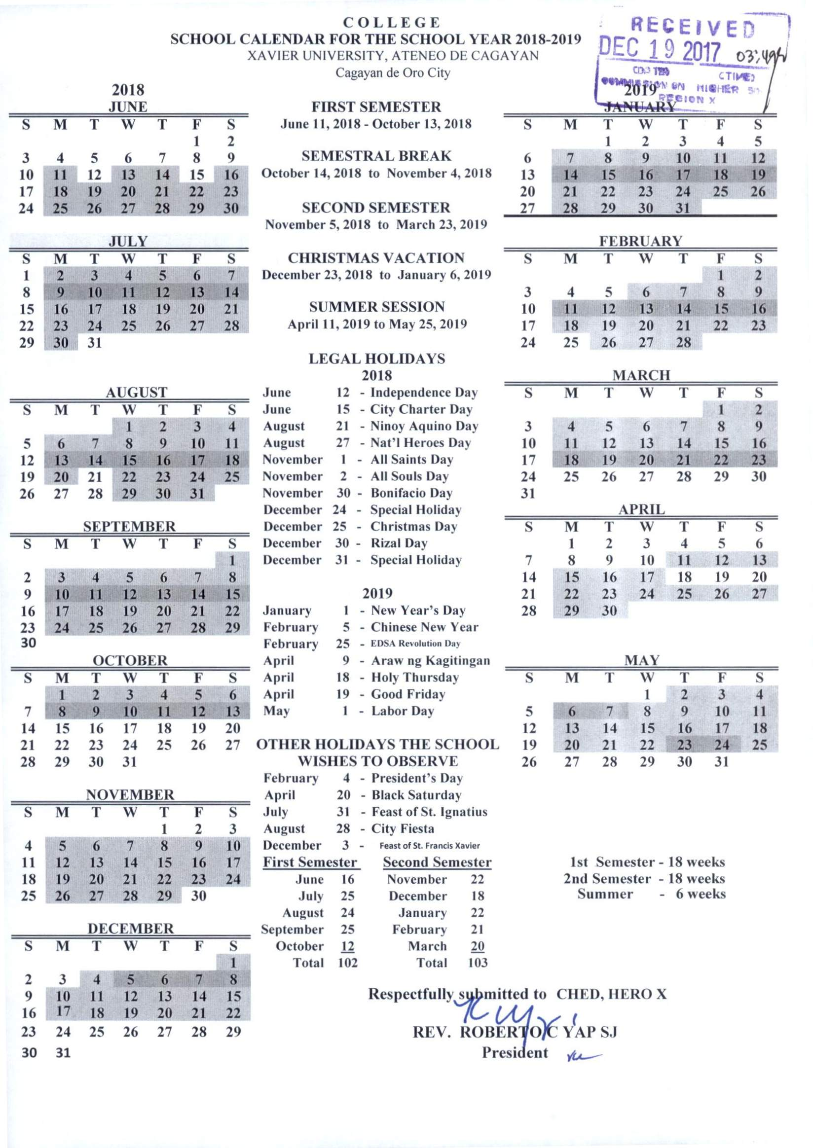 Official Deped School Calendar for School Year 2018 t