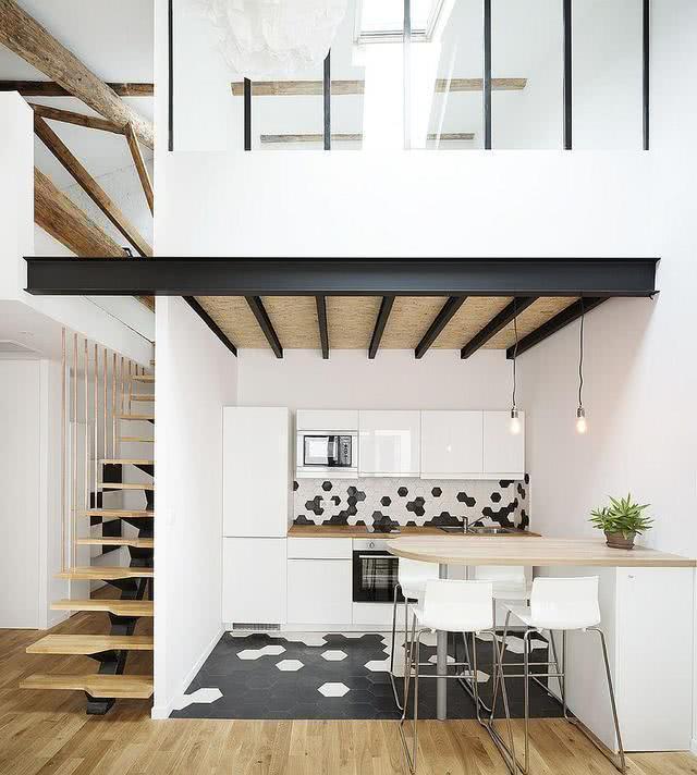 kitchen island home depot free standing cupboards 欧美流行家居 15个经典的现代家庭厨房 给你未来的家带来一点灵感 雪花新闻 仓库变成了家有高高的屋顶可以在夹层厨房设计