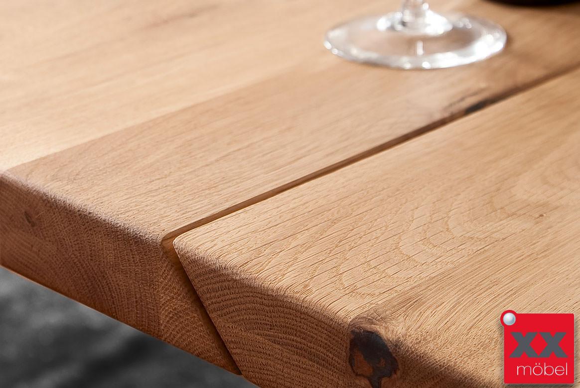 Esstisch Massivholz  Greta  Holz Eiche geteilte Platte  GG