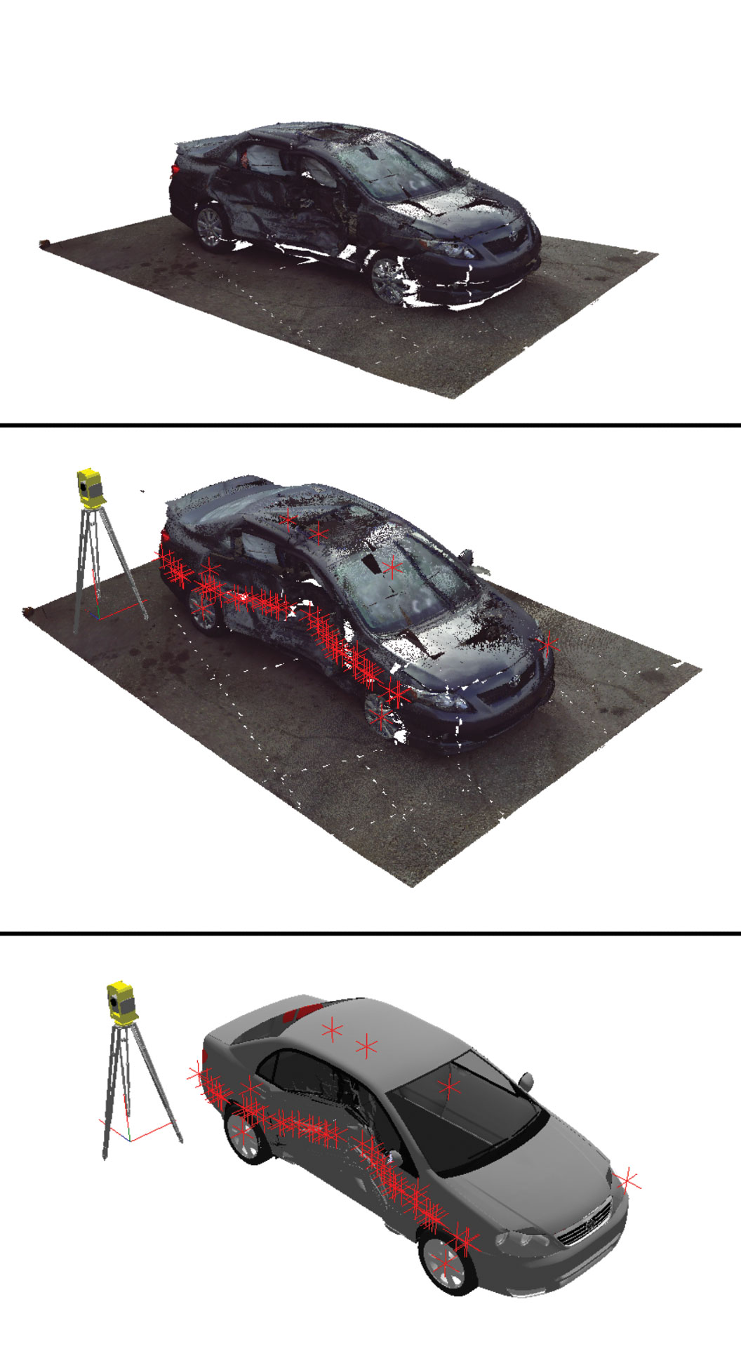 hight resolution of using photographs of an actual car accident a 3d digital reconstruction of the damaged vehicle
