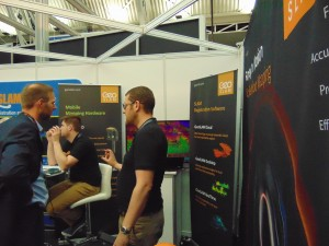 GeoSLAM's booth - their ZEB-REVO handheld scanner-mapping system was out and about on the exhibition floor on demo duty...