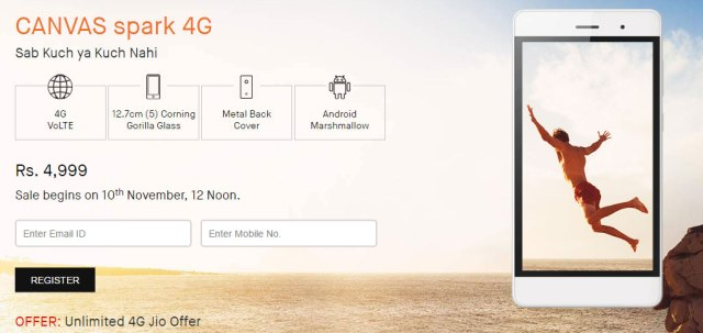 Canvas spark 4g snapdeal