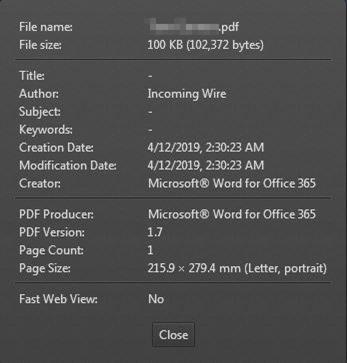 LinkedIn Phish PDF Metadata