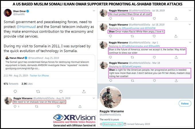 A US based muslim Somali Ilhan Omar Supporter promoting al-Shabab terror attacks