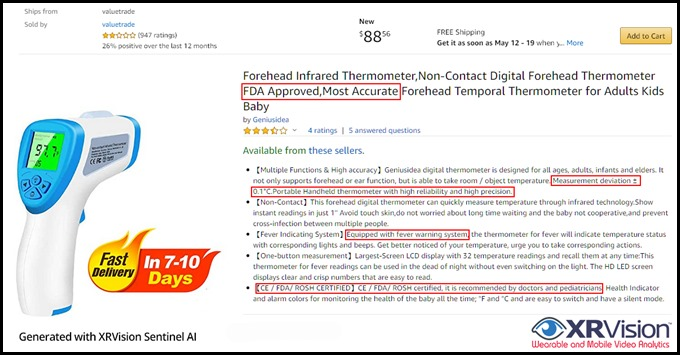 FDA Approved,Most Accurate Forehead Thermometer