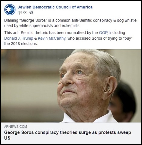Jewish Democratic Council of America and Soros