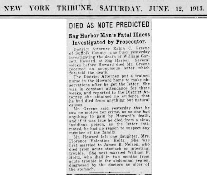 A14  6-1-1915 William Howard Died as Predicted in Letter Clip