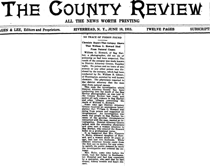A27  6-15-1915 William Howard Cause of Death Clip