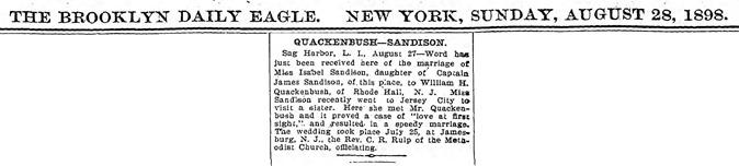 A6  8-28-1898 Isabella and William H Quackenbush Marriage Clip