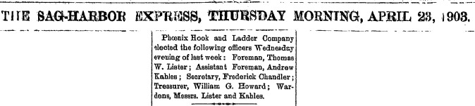 A7  3-23-1903 William Howard Officer Fire Department 4-23-1903 Clip