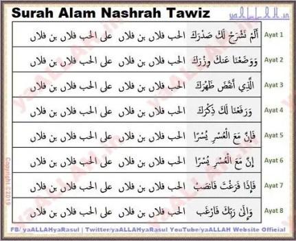 Surah Alam Nashrah tawiz wazifa for love marriage