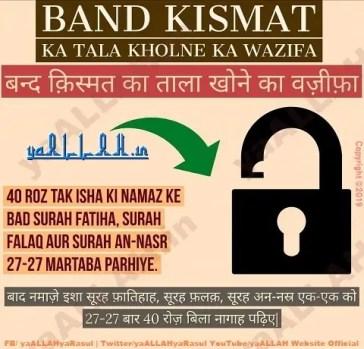 Band Kismat Ka Tala Kholne Ka Wazifa