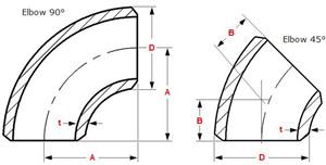 ANSI B16.9 ASTM A403 WP321 90 Degree Elbow Long Radius