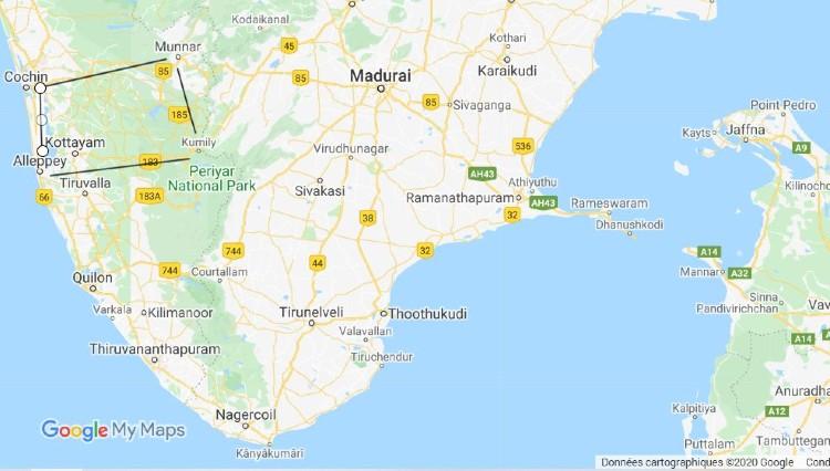 Carte de l'itinéraire au Kérala