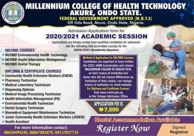 Millennium College of Health Tech HND, Diploma, Cert. Admission Forms for 2020/2021